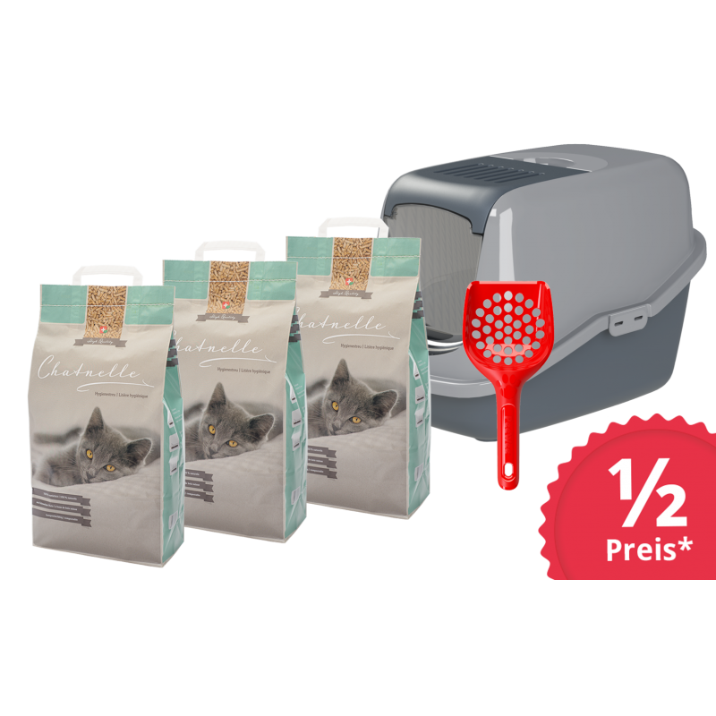 Sorglospaket Katzentoilette EcoHus mit 3 Säcken Hygienestreu