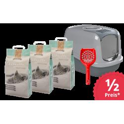 Sorglospaket Katzentoilette EcoDome mit 3 Säcken Hygienestreu