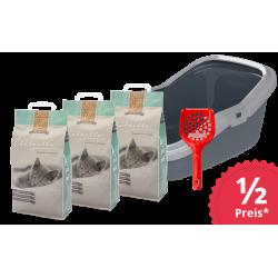 Kit iniziale toilette per gatti Eco Minor con 3 sacchi di pellet igienici