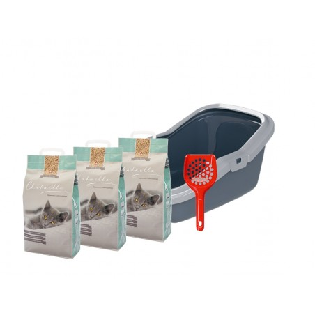 Starterkit Katzentoilette EcoMinor mit 3 Säcken Hygienestreu und 1 Streuschaufel