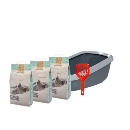 Starterkit Katzentoilette EcoGranda mit 3 Säcken Hygienestreu und 1 Streuschaufel
