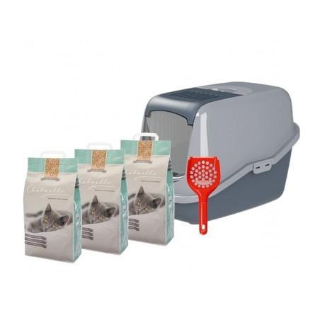 Starterkit Katzentoilette EcoHus mit 3 Säcken Hygienestreu und 1 Streuschaufel