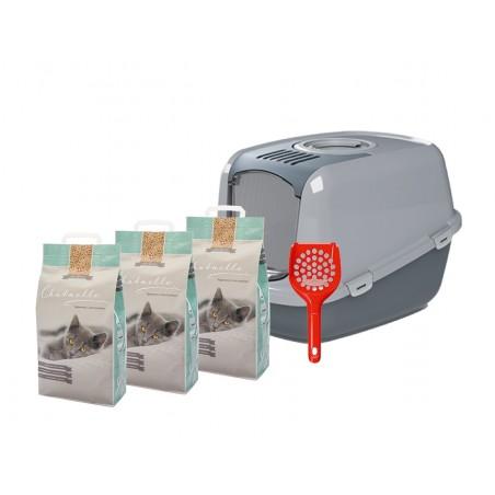 Starterkit Katzentoilette EcoDome mit 3 Säcken Hygienestreu und 1 Streuschaufel